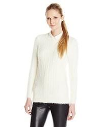 Jersey con Cuello Circular de Angora Blanco de Calvin Klein