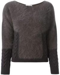 Jersey con cuello circular de angora en gris oscuro