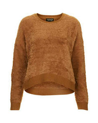 Jersey con cuello circular de angora marrón
