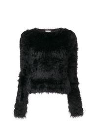 Jersey con cuello circular de angora negro de Balenciaga