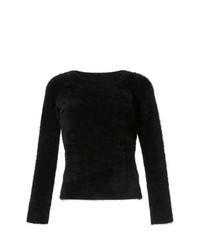 Jersey con cuello circular de angora negro de GUILD PRIME