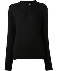 Jersey con cuello circular de angora negro