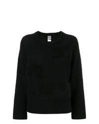 Jersey con cuello circular de angora negro de Lorena Antoniazzi