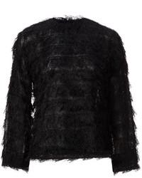 Jersey con cuello circular de angora negro de Toga