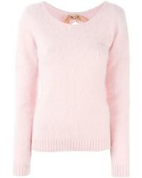 Jersey con cuello circular de angora rosado de No.21