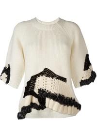 Jersey con cuello circular de crochet blanco de 3.1 Phillip Lim
