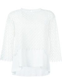 Jersey con cuello circular de crochet blanco de Chloé