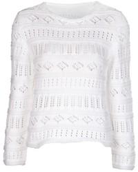 Jersey con cuello circular de crochet blanco de Lucien Pellat-Finet