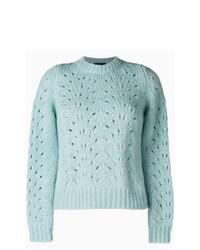 Jersey con cuello circular de crochet celeste de Roberto Collina