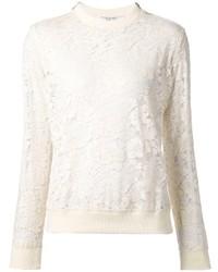 Jersey con cuello circular de encaje blanco