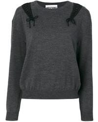 Jersey con cuello circular de encaje en gris oscuro de Moschino