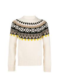 Jersey con cuello circular de grecas alpinos en beige