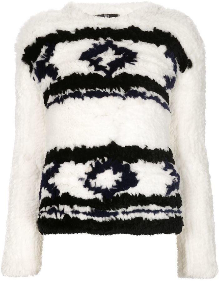 Jersey con cuello circular de grecas alpinos en blanco y negro de Tibi