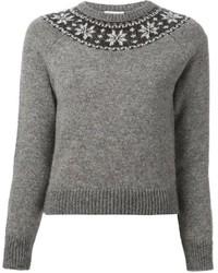 Jersey con cuello circular de grecas alpinos gris