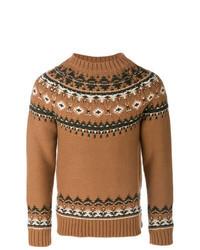 Jersey con cuello circular de grecas alpinos marrón
