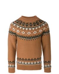 Jersey con cuello circular de grecas alpinos marrón de Alexander McQueen