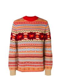 Jersey con cuello circular de grecas alpinos rojo de Sacai