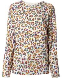Jersey con cuello circular de leopardo en beige
