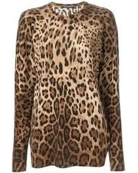 Jersey con cuello circular de leopardo marrón claro