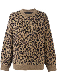 Jersey con cuello circular de leopardo marrón claro de Alexander Wang