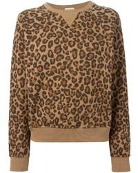 Jersey con cuello circular de leopardo marrón claro de Saint Laurent