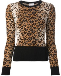 Jersey con cuello circular de leopardo marrón de RED Valentino