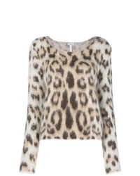 Jersey con cuello circular de mohair de leopardo en beige de Loewe