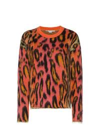 Jersey con cuello circular de mohair de leopardo en multicolor de Stella McCartney