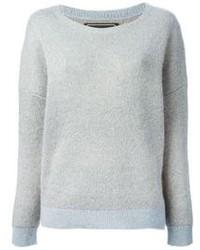 Jersey con cuello circular de mohair gris