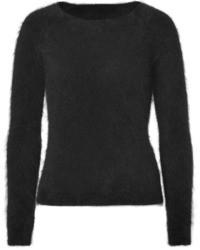 Jersey con cuello circular de mohair negro