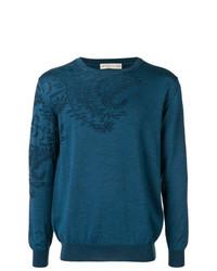 Jersey con cuello circular de paisley azul de Etro