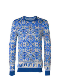 Jersey con cuello circular de paisley azul de Versace Collection