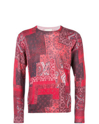 Jersey con cuello circular de paisley rojo de Etro
