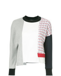 Jersey con cuello circular de patchwork blanco