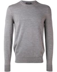 Jersey con cuello circular de punto gris de Alexander McQueen