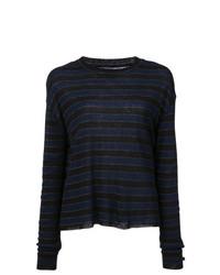 Jersey con cuello circular de rayas horizontales azul marino de RtA
