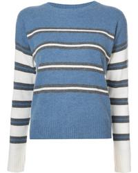 Jersey con cuello circular de rayas horizontales azul