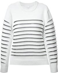 Jersey con cuello circular de rayas horizontales blanco de Alexander Wang