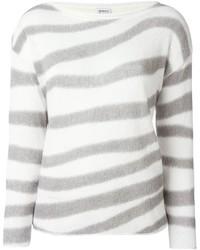 Jersey con cuello circular de rayas horizontales blanco de Armani Collezioni