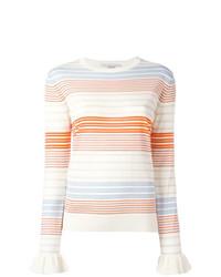 Jersey con cuello circular de rayas horizontales blanco de Stella McCartney
