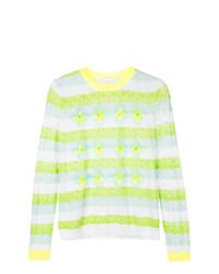 Jersey con cuello circular de rayas horizontales en amarillo verdoso de DELPOZO