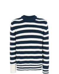 Jersey con cuello circular de rayas horizontales en azul marino y blanco de Sacai