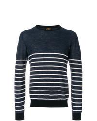 Jersey con cuello circular de rayas horizontales en azul marino y blanco de Tod's