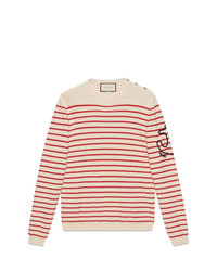 Jersey con cuello circular de rayas horizontales en beige de Gucci