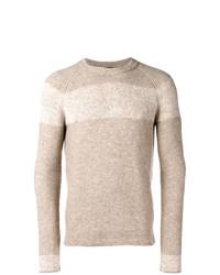 Jersey con cuello circular de rayas horizontales en beige de Roberto Collina
