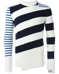 Jersey con cuello circular de rayas horizontales en blanco y azul marino de Alexander McQueen