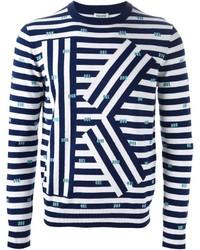 Jersey con cuello circular de rayas horizontales en blanco y azul marino de Kenzo