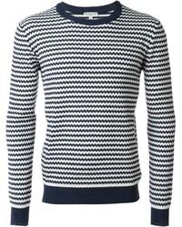 Jersey con cuello circular de rayas horizontales en blanco y azul marino de Melindagloss