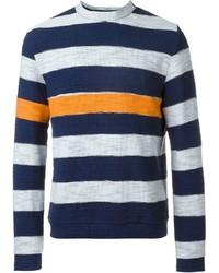 Jersey con cuello circular de rayas horizontales en blanco y azul marino de MSGM