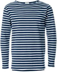 Jersey con cuello circular de rayas horizontales en blanco y azul marino de Saint Laurent
